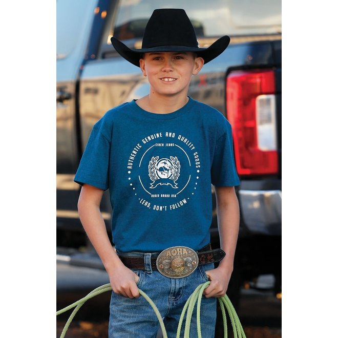 Boys Blue Heathered Cinch Tee