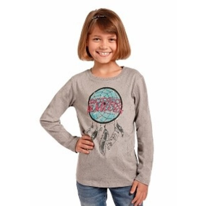 Girls Tan Graphic L/S Tee