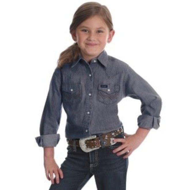 Girls Grey Denim Snap Shirt