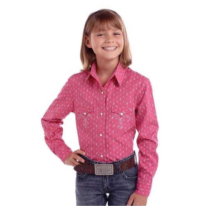 Girls Pink All Over Print Snap Shirt