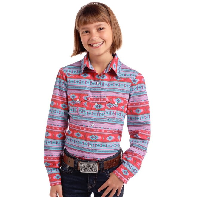 Girls Aztec Print Snap Shirt