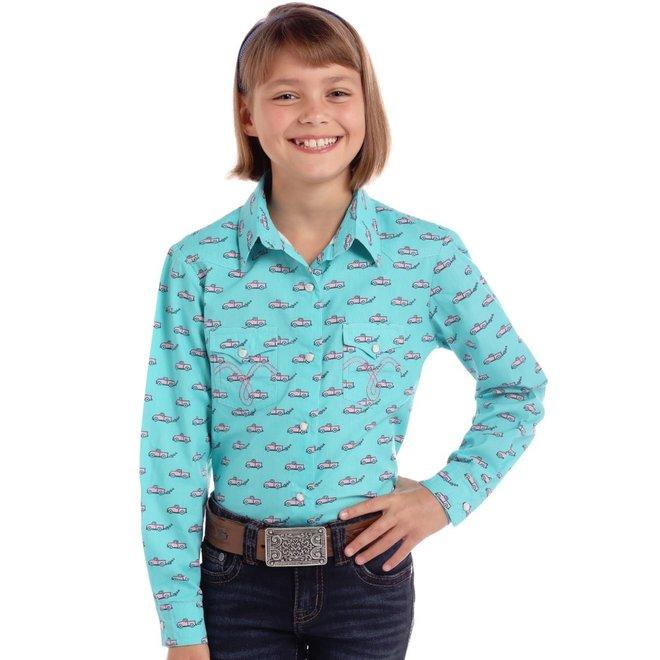 Girls Turquoise Print Snap Shirt