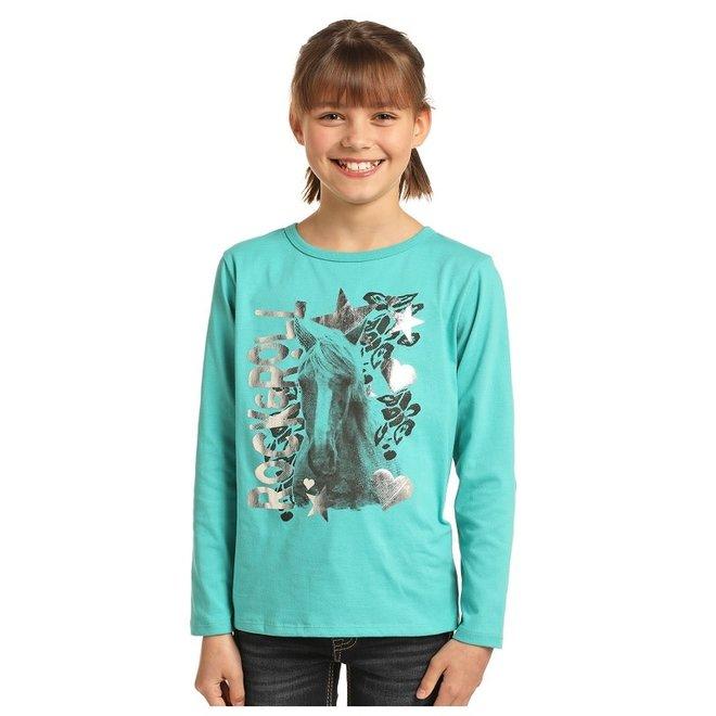 Girls Turquoise Horse Tee