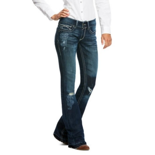 Ladies Mid Rise Paisley Boot Cut Jean