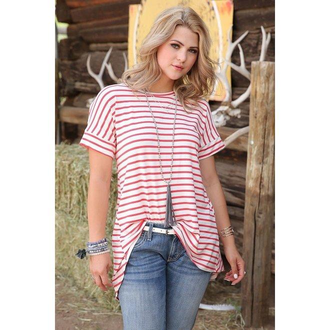 Ladies Red Striped High Low Hem Tee