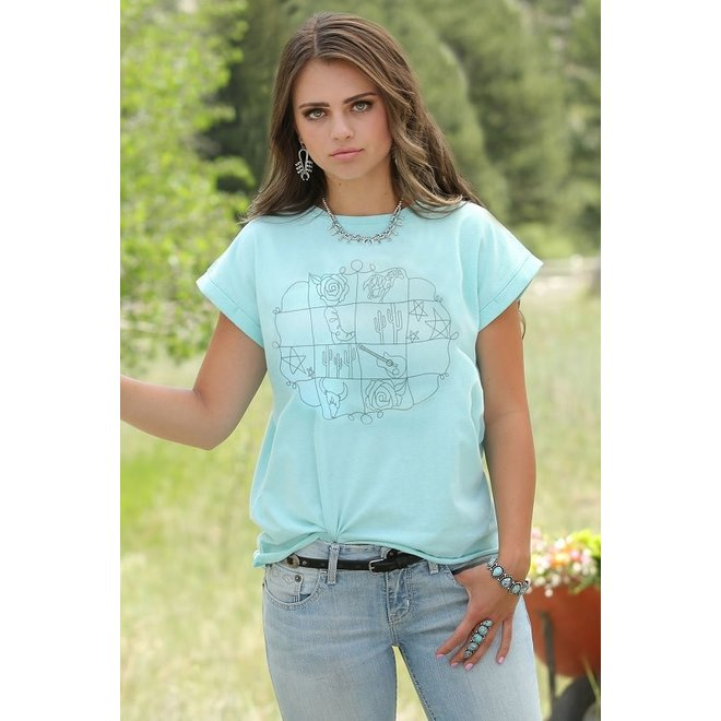 Ladies Light Blue Graphic Tee