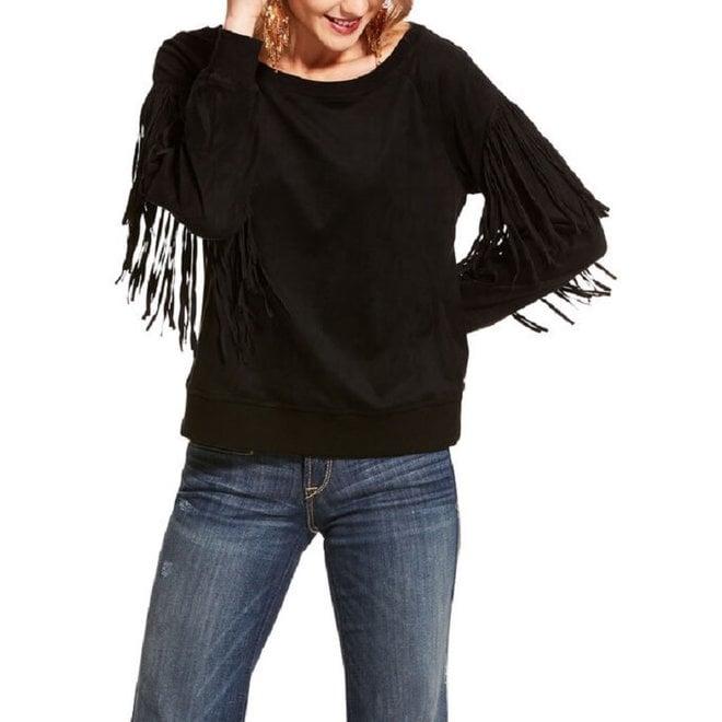 Ladies Black Fringe Sweatshirt