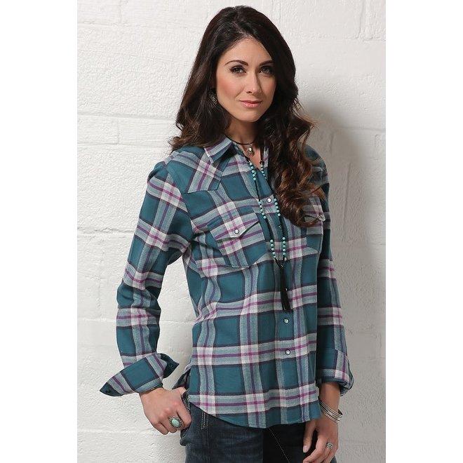 Ladies Teal Plaid Snap Shirt