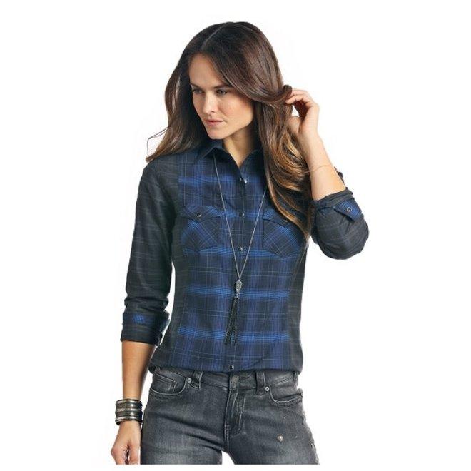 Ladies Blue Plaid Snp Shirt