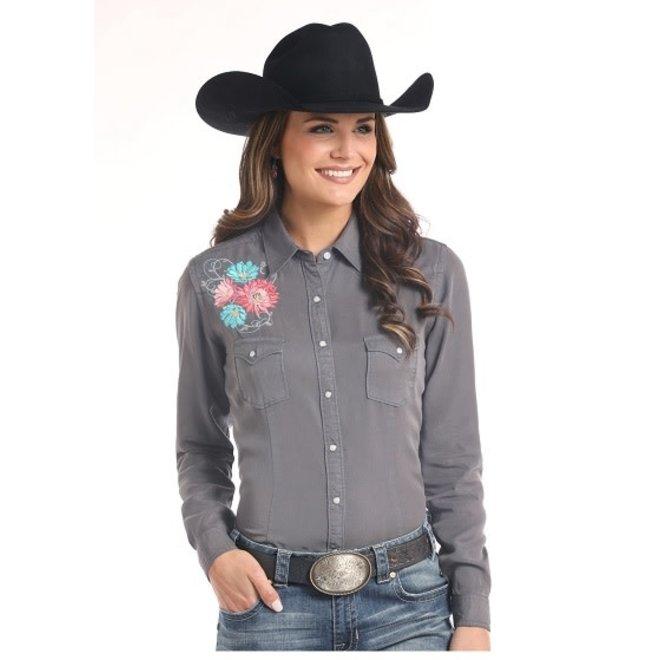 Ladies Grey Emb Snap  Shirt