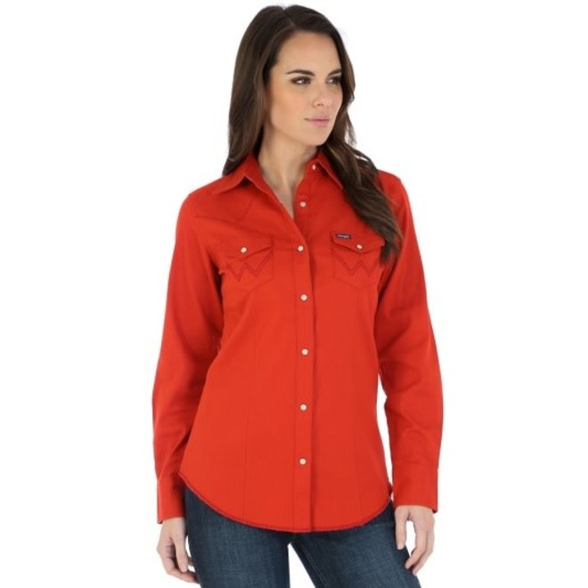 Ladies Red Western Snap Shirt