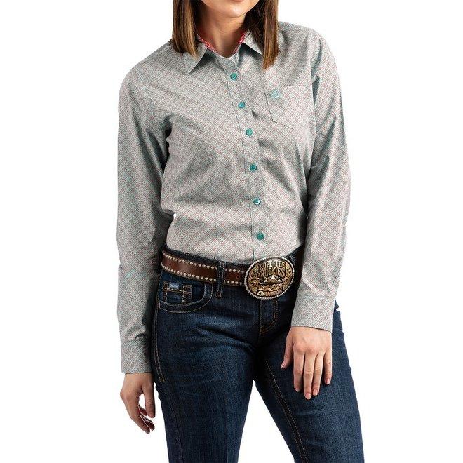 Ladies Turquoise Print Shirt
