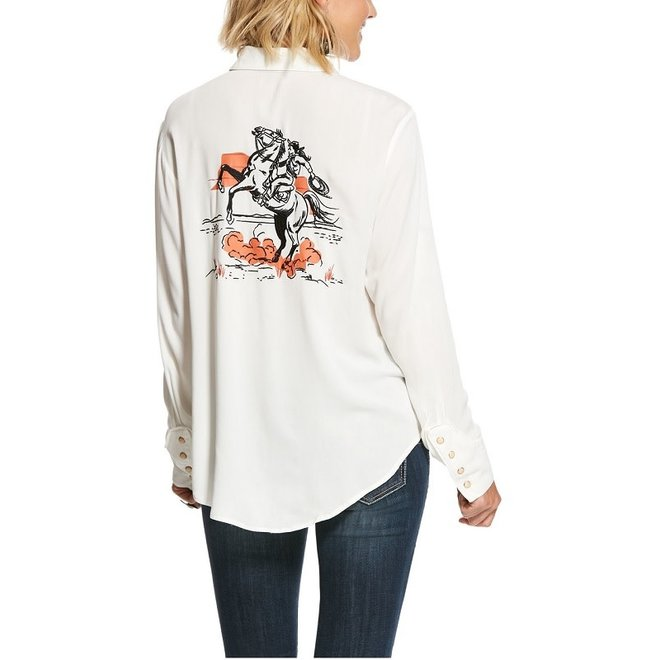 Ladies Retro Screen Print Logo Shirt