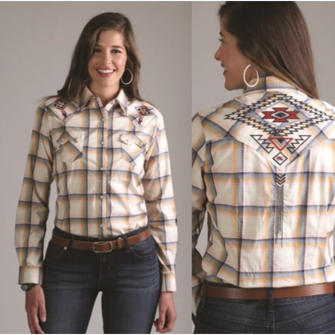 Ladies Embroidered Vintage Snap Shirt