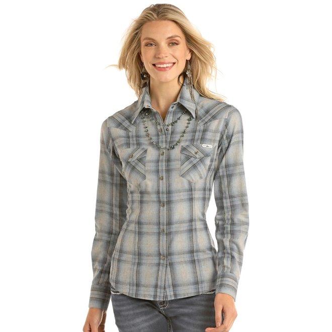Ladies Grey Twill Snap Shirt