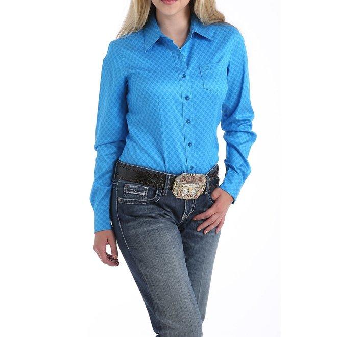 Ladies Blue Printed Button Shirt