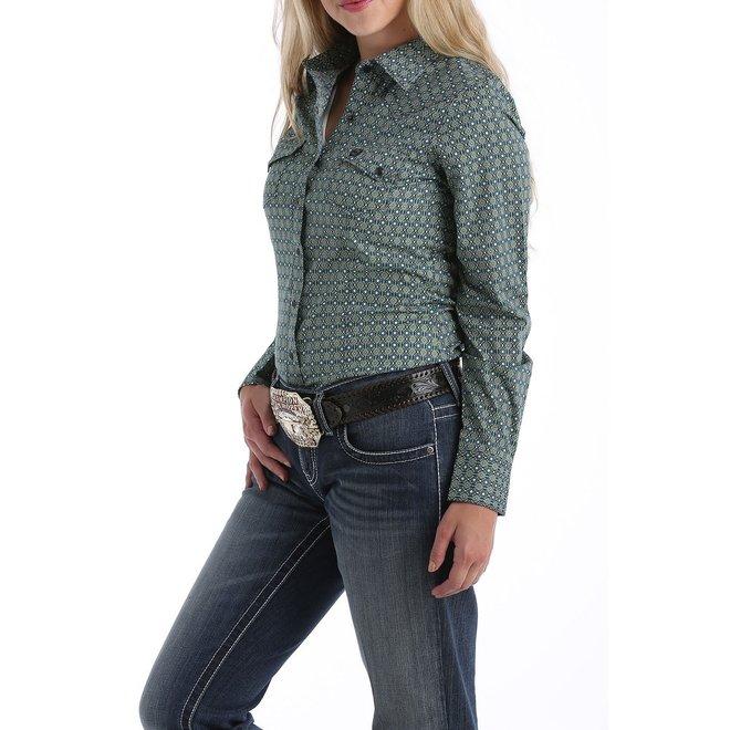Ladies Blue/Green Print Snap Shirt
