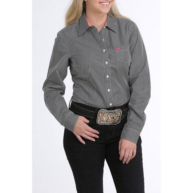 Ladies Black Stripe Button Shirt
