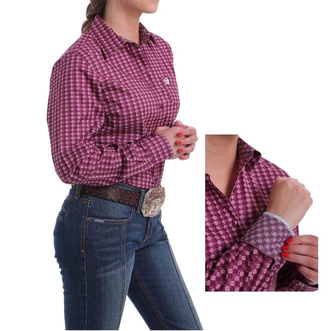 Ladies Pink Print Button Shirt