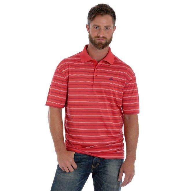 Mens Red Stripe Advanced Comfort Polo