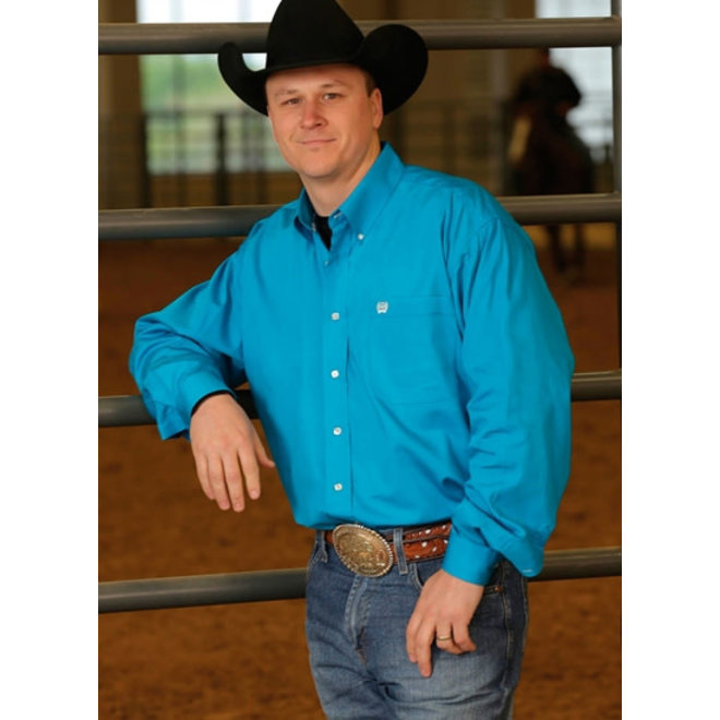 Cinch Mens Solid Teal Shirt