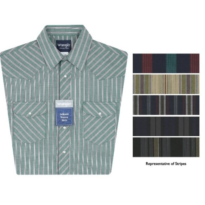 Wrangler Mens Sport Western Snap Shirt - Assorted Colors and Stripes