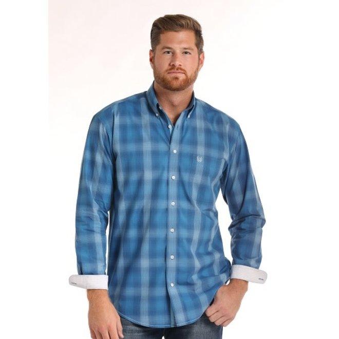 Mens RS Blue Plaid Shirt
