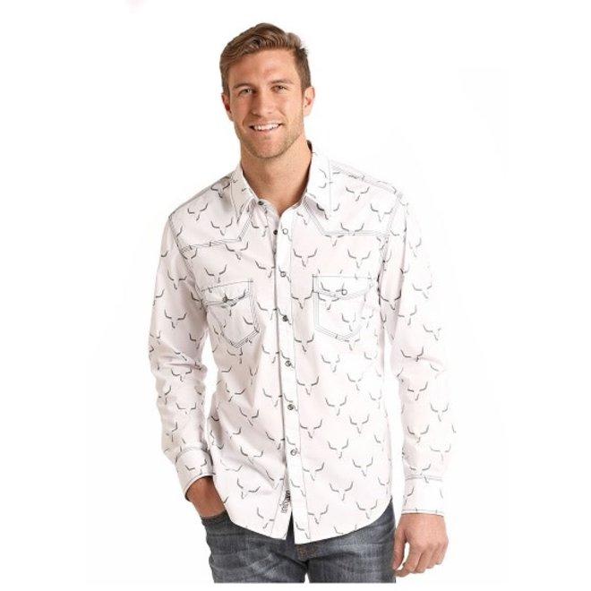 Mens Lghn Print Snap Shirt