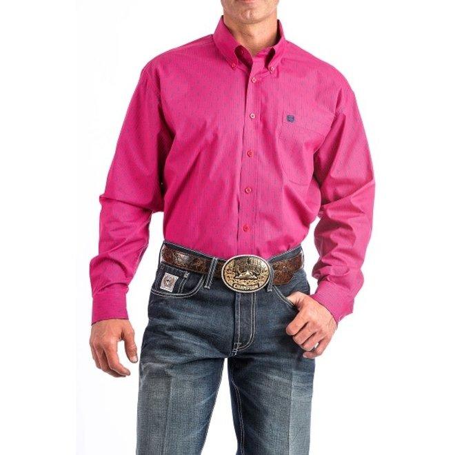 Mens Cinch Pink Print  Shirt