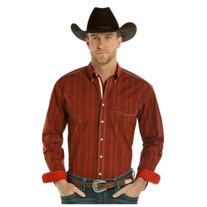 Mens Red Vintage Plaid Shirt
