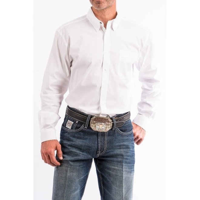 Mens Modern Fit Solid White Shirt