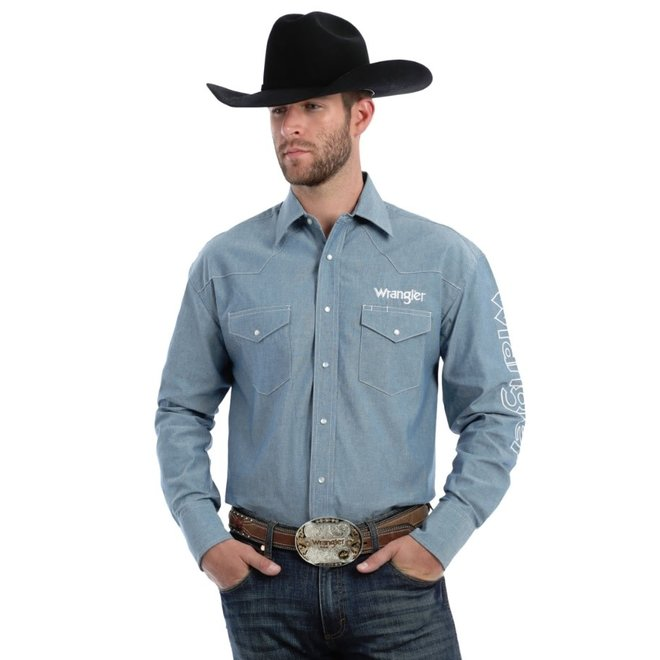 Mens Blue Chambray Western Snap Shirt