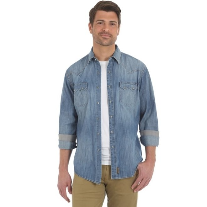 Mens Retro Wintage Wash Denim Shirt