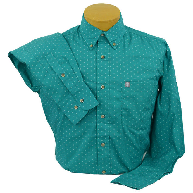 Mens Bright Green Print Performance Shirt