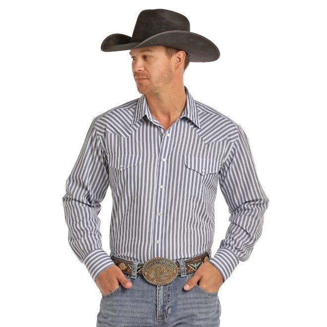 Mens Dobby Stripe Snap Shirt