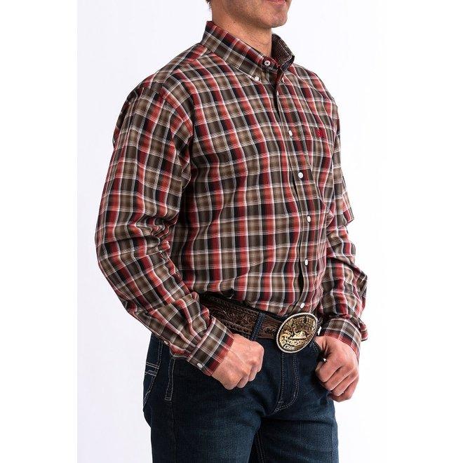 Mens Burgundy Plaid Shirt