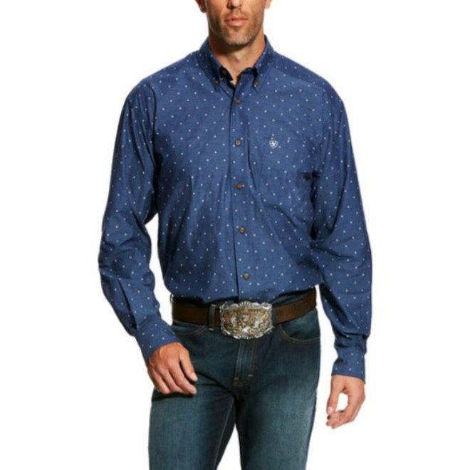 Mens Gatham Print Blue Shirt