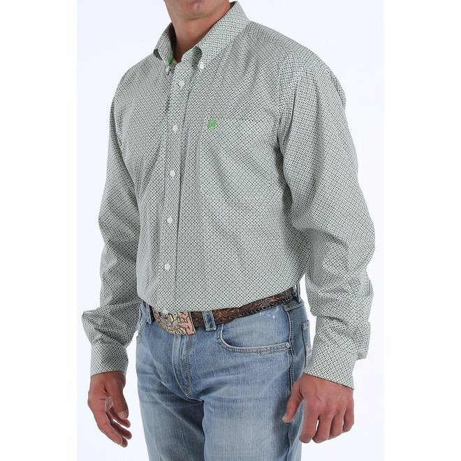 Mens Cream Print Classic Fit Shirt