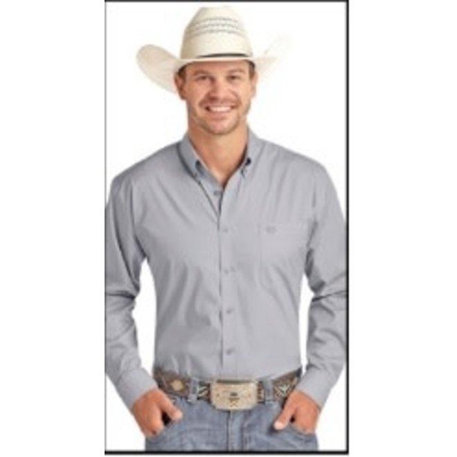 Mens Solid Grey Stretch Poplin Shirt