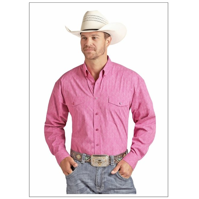 Mens Pink Print Cotton Shirt