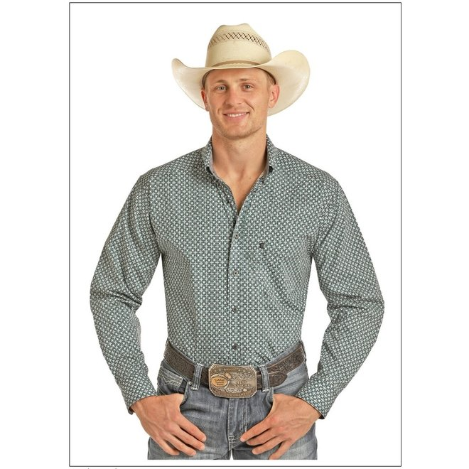 Mens Tuf Cooper Grey and Turquoise Print Shirt