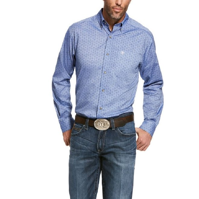 Mens Blue Print Fitted Shirt