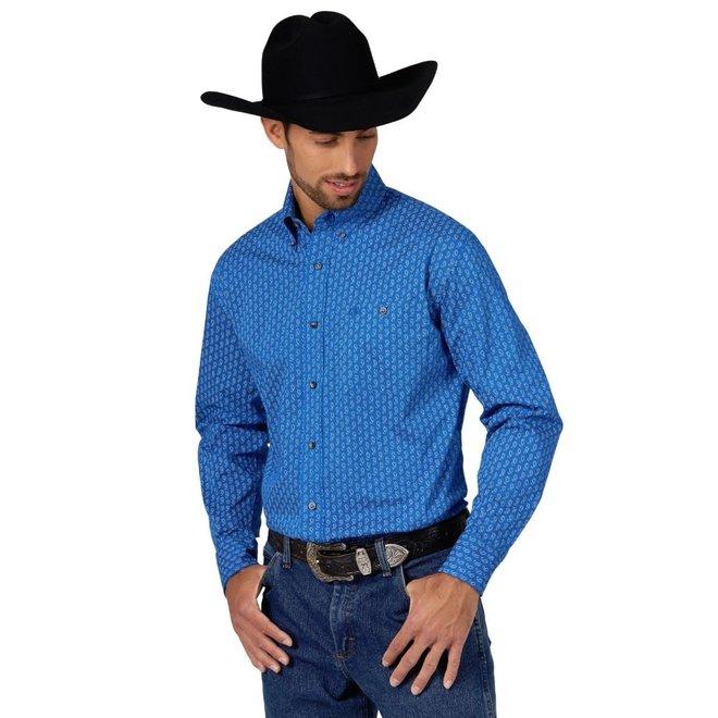 Mens Blue Paisley Print Shirt