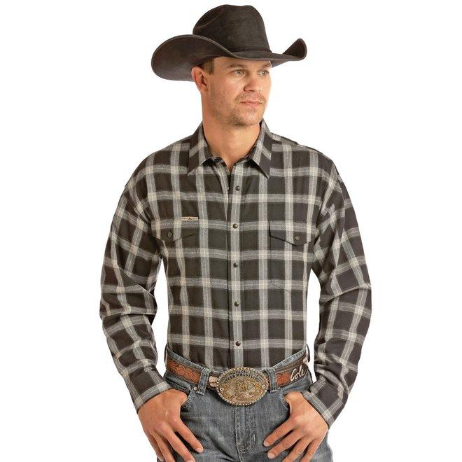 Mens Black Twill Plaid Snap Shirt