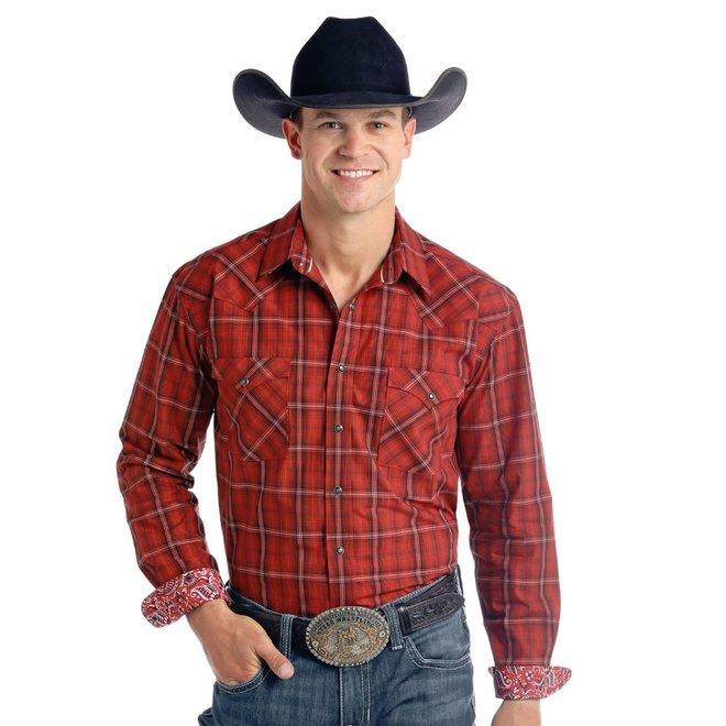 Mens Red Retro Plaid Snap Shirt
