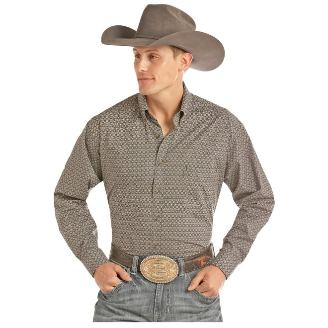 Mens Grey Print Competition Fit Shirt