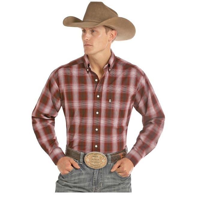 Mens Red Plaid Button Shirt