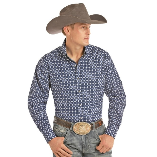 Mens Blue Print Competition Fit Shirt