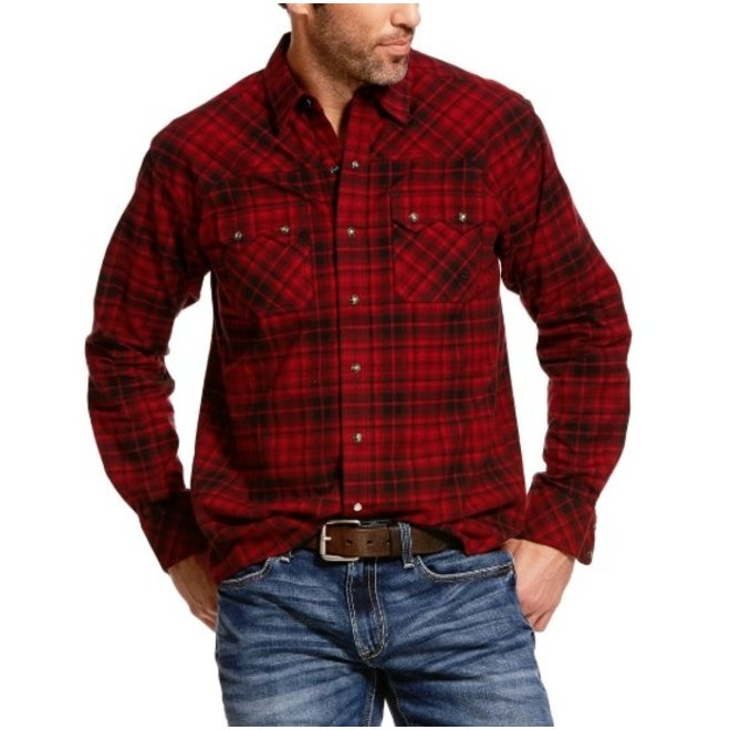 Mens Retro Red Plaid Snap Shirt