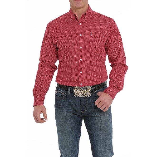 Mens Red Modern Fit Button Shirt